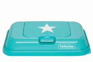 Funkybox To Go wipe dispenser - Aqua/White Star